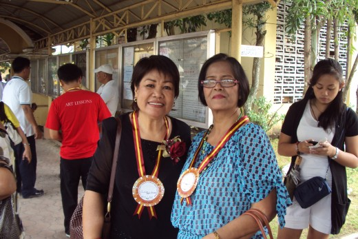 WELCOME HOME. Dr. Amelia S. Rey (right), former BCAT Collegian moderator, and Dr. Alicia Badong (left), my Math teacher, both retired and alumni of this school, visit the CSPC for the grand alumni and centennial celebration.