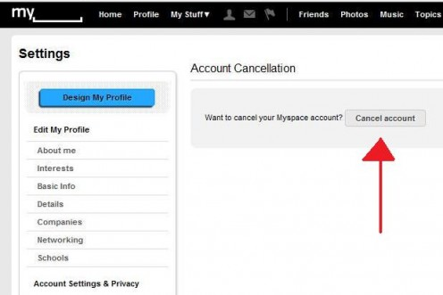 "On the 'Account Cancellation' page, simply click the ""Cancel Account"" button"