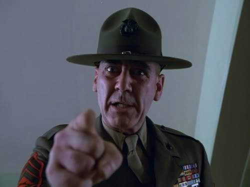 R. Lee Ermey as the intimidating Gunnery Sergeant Hartman.