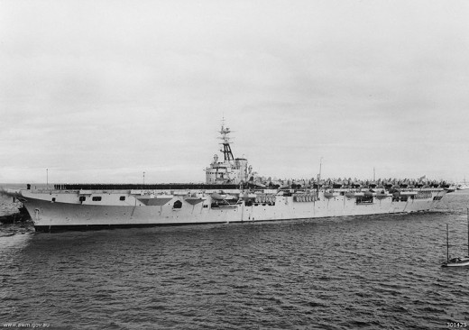 Topped to the gunwales with Fairy Fireflies and Hawker Sea Furies, and sporting around two dozen 40mm bofors, she was a ral fighting machine in those early days.