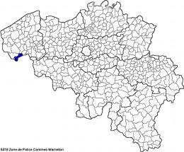 Map location of Comines-Warneton, Belgium (where Ploegsteert is situated)