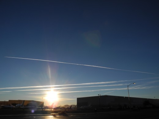 Pencil Thin lines from initial Chemtrail Spraying.