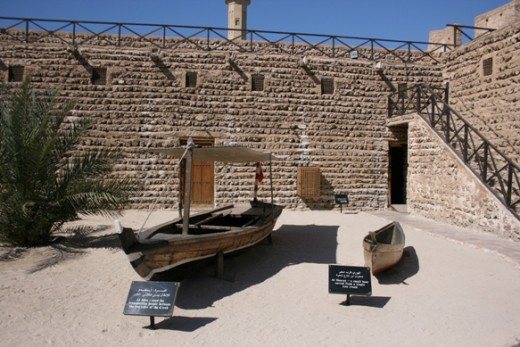 An old abra housed in the historical setting of the Dubai Museum