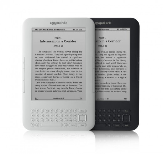 The Kindle 3 is offered in two different colors, white or graphite.