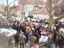 March 13th, the neighborhood turns out to protest mosque on their street.