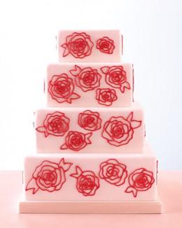 DIY Rose-Piped Wedding Cake