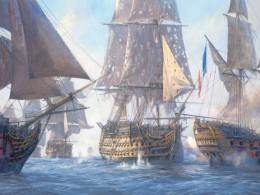 Picture of Nelson's flagship, The Victory, sailing into the French fleet at Trafalgar.