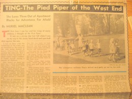 """The youngsters gaily set out for the park.""Newspaper story about Ting Vancouver Sun Sept 21 1946. Marsha was two years old"