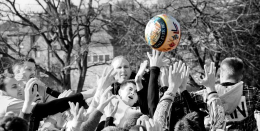 Action during the 2011 Ashbourne Shrovetide game