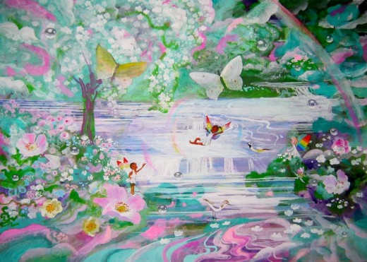 3 Fairies Over Water by Ann Atkin