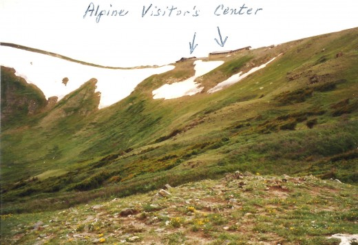 Closer view of Alpine Visitor's Center in the distance.