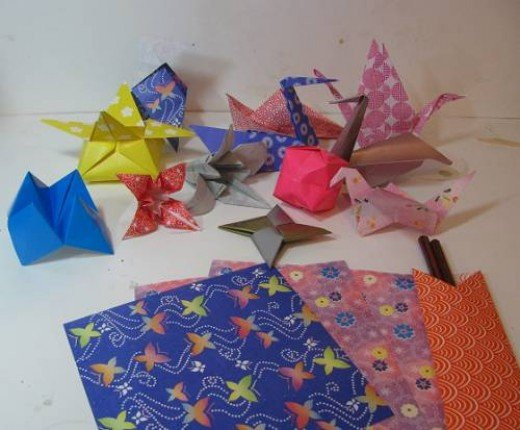 Some Origami Figures and Paper