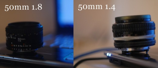 Here are photos of my prime lenses, my 50mm 1.8 and my 50mm 1.4