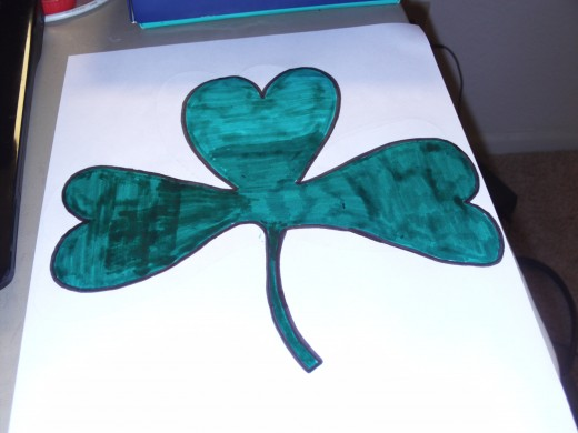 Now my entire shamrock is colored in.