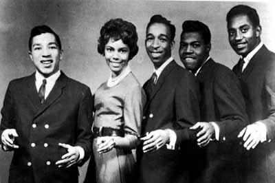 From left to right, Smokey Robinson, Claudette Rodgers Robinson, Ronald White, Pete Moore, and Bobby Rodgers.