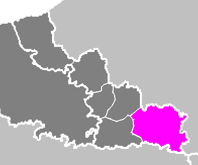 Map location of the Avesnes-sur-Helpe 'arrondissement' of the Nord department, where Jeumont is situated
