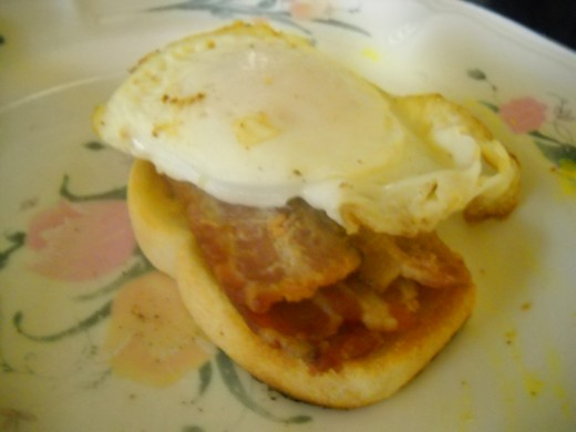 Open bacon and egg sandwich.