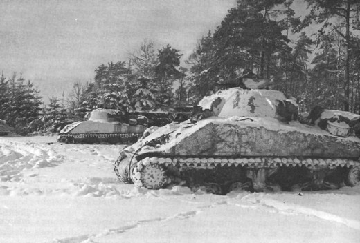 Tanks of the 7th Armored Division, near St. Vith, 1944