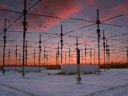 The HAARP facility with antennae in Alaska