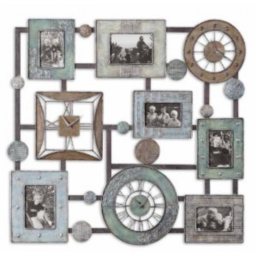 Petina Photo Collage & Clock Wall Mounted