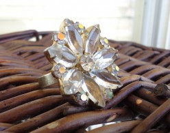 large ring made from antique brooch