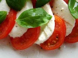 Caprese salad tomato, basil, olive oil and mozzarella