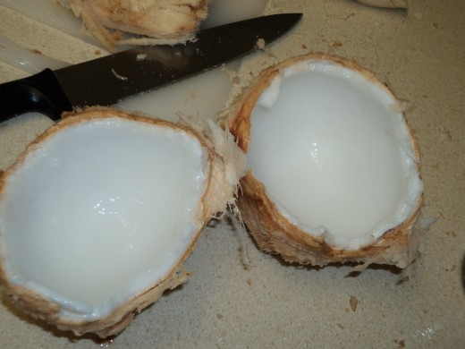 Coconut Open and Ready to be Eaten