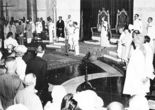 Transfer of power. Mountbatten and Nehru at the microphone; Edwina in front of her throne. Viceroy's House, 15 August 1947