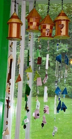 Patio Art:  Beautiful Hand-Made Spiritual Stained Glass & Crystal WindChimes!