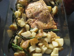 Beautiful baked salmon with lemon, lime, garlic, herbs, and pepper. Served with potatoes that have been baked, steamed asparagus, and steamed mixed vegetables.