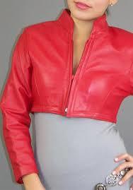 3. Sporty red leather bolero jacket