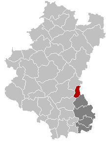 Map location of Martelange in Belgium's Luxembourg province
