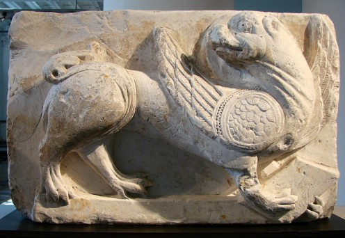 13th century bas-relief of Griffin .Picardy,France.