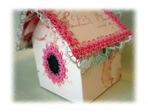 The script on the paper was the draw for me. Pretty thread made making the lace a joy!
