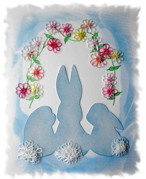Tatted flowers and bunny tails graces my Easter and Spring cards.
