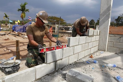 Seabees finally getting to build the enlisted mens' barracks