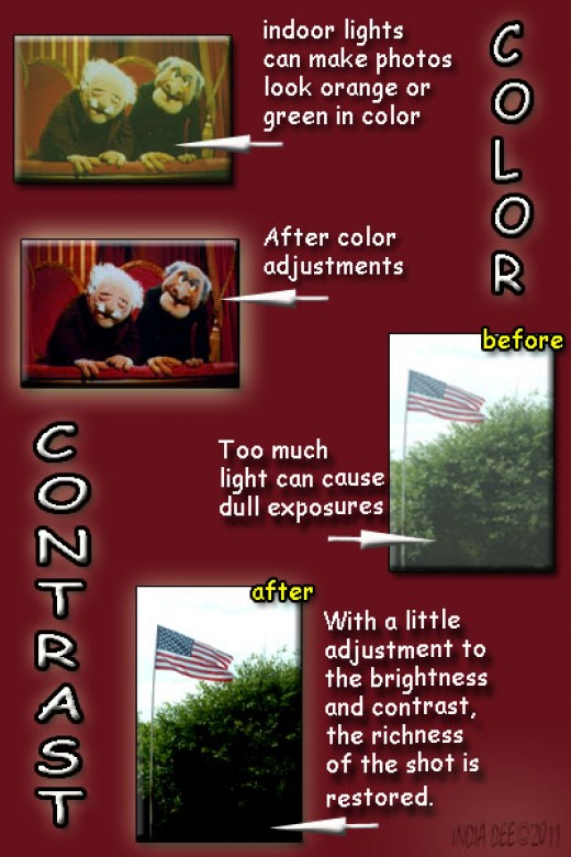Color and contrast can easilty be fixed using digital image software.