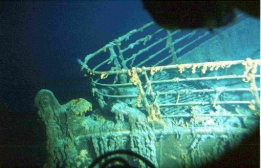 Titanic at the bottom of the sea