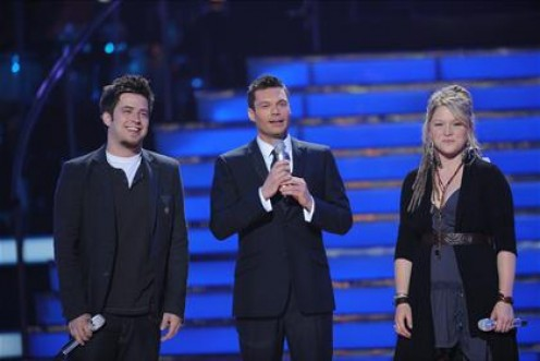 Ryan Seacrest with Season 9 winner Lee Dewyze and runner-up Crystal Bowersox