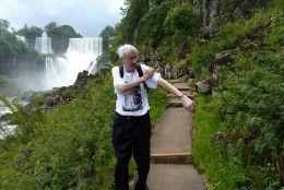 Here I am wringing out my t-shirt after the boat trip into the base of the falls and being completely soaked!