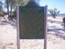 Sign detailing the history of Lake Makatawa originally named Black Lake