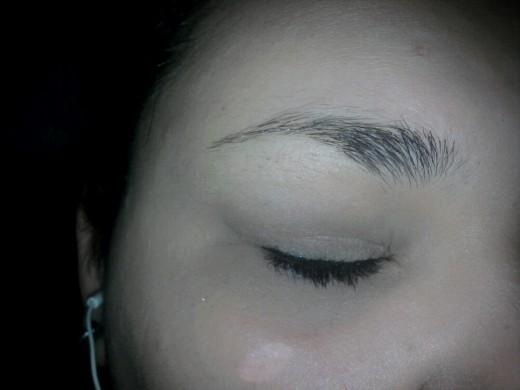Apply your eyeliner. I used a liquid liner from Revlon Colorstay in Black Shimmer.