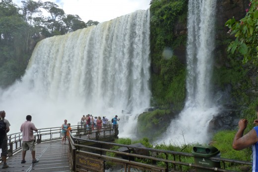 People on the walkways at Salto Bossetti, one of the hundreds of waterfalls at Iguazu Falls