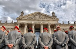 Federal army ceremony in front of the Reichstag building, Berlin