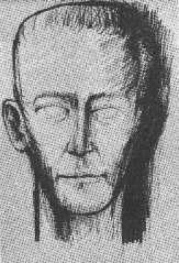 A loose sketch of a thin faced man, done by a newspaper artist at the time of the dissappearance.