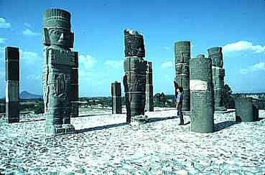 These are the Tula warrior sculptures that adorn the plaza around the temple-pyramid. They are distinct from anything else in Mesoamerica and give credence to the existence of the Toltec.