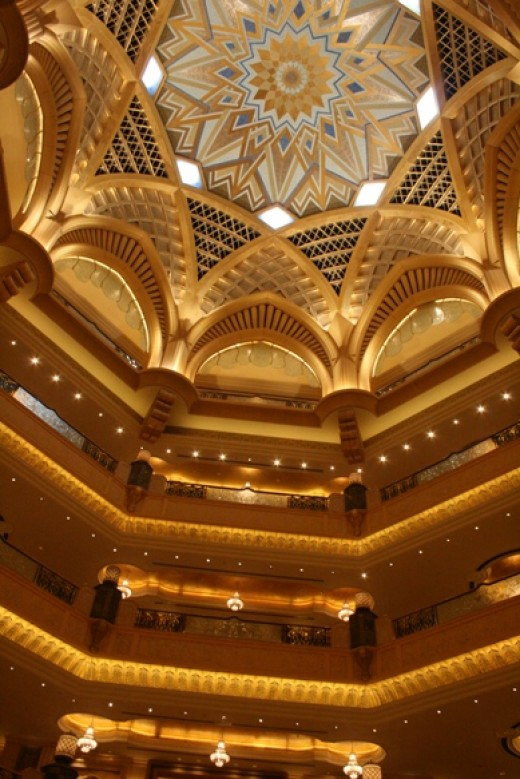 One of the ceilings in the Emirates Palace Hotel...plenty of gold there already.