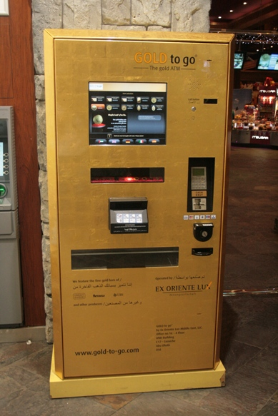 The gold vending machine in Mall of the Emirates, Dubai