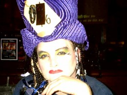 This is a picture of one of my best friends. He does his drag makeup, and it's convincing! He makes a great Boy George.