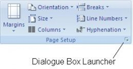 Dialogue Box Launcher in the Page Setup group